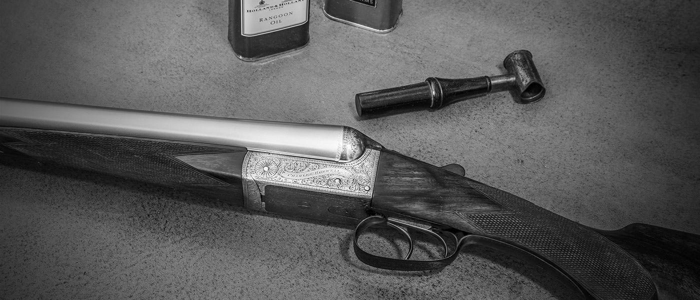 A shotgun on display at Sportarm of Dorchester Gun Room