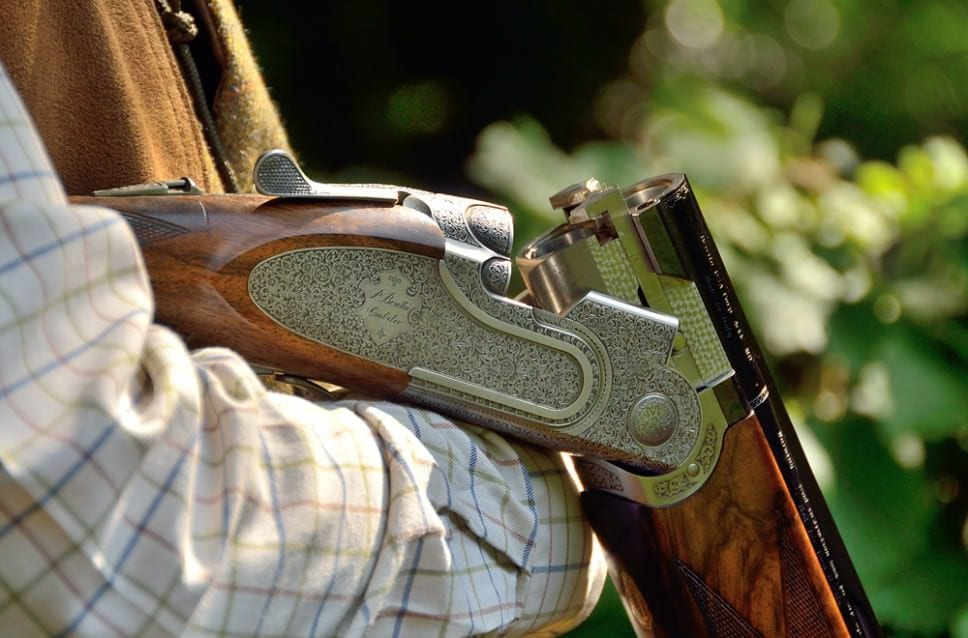 Bookings - Closeup of shotgun while on a shoot at Lady's Wood Shooting School