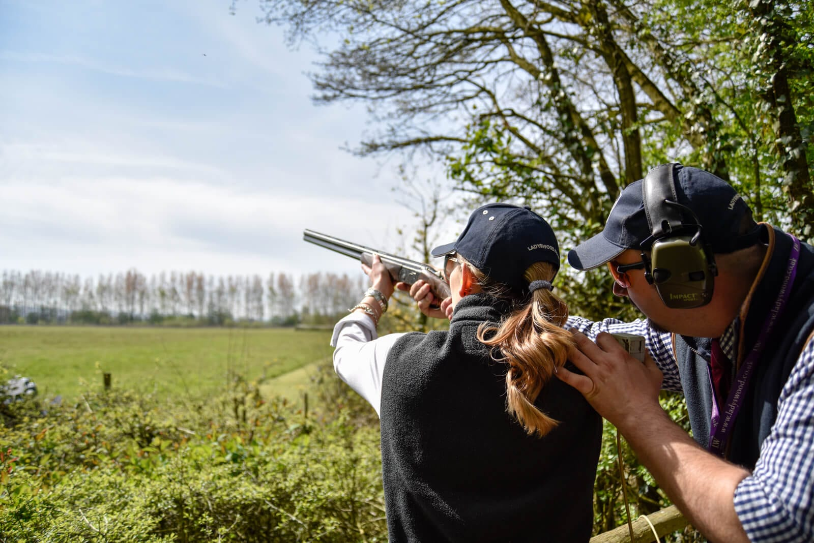Clay pigeon shooting instruction at Lady's Wood Shooting School