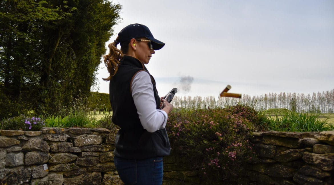 League of Lady Shooters - Cartridges ejecting while clay pigeon shooting at Lady's Wood Shooting School