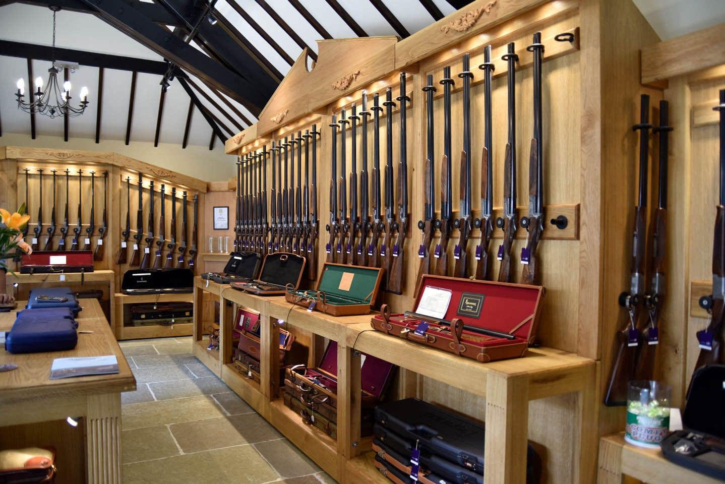 Gun rack at the Sportarm at Lady's Wood Gun Room