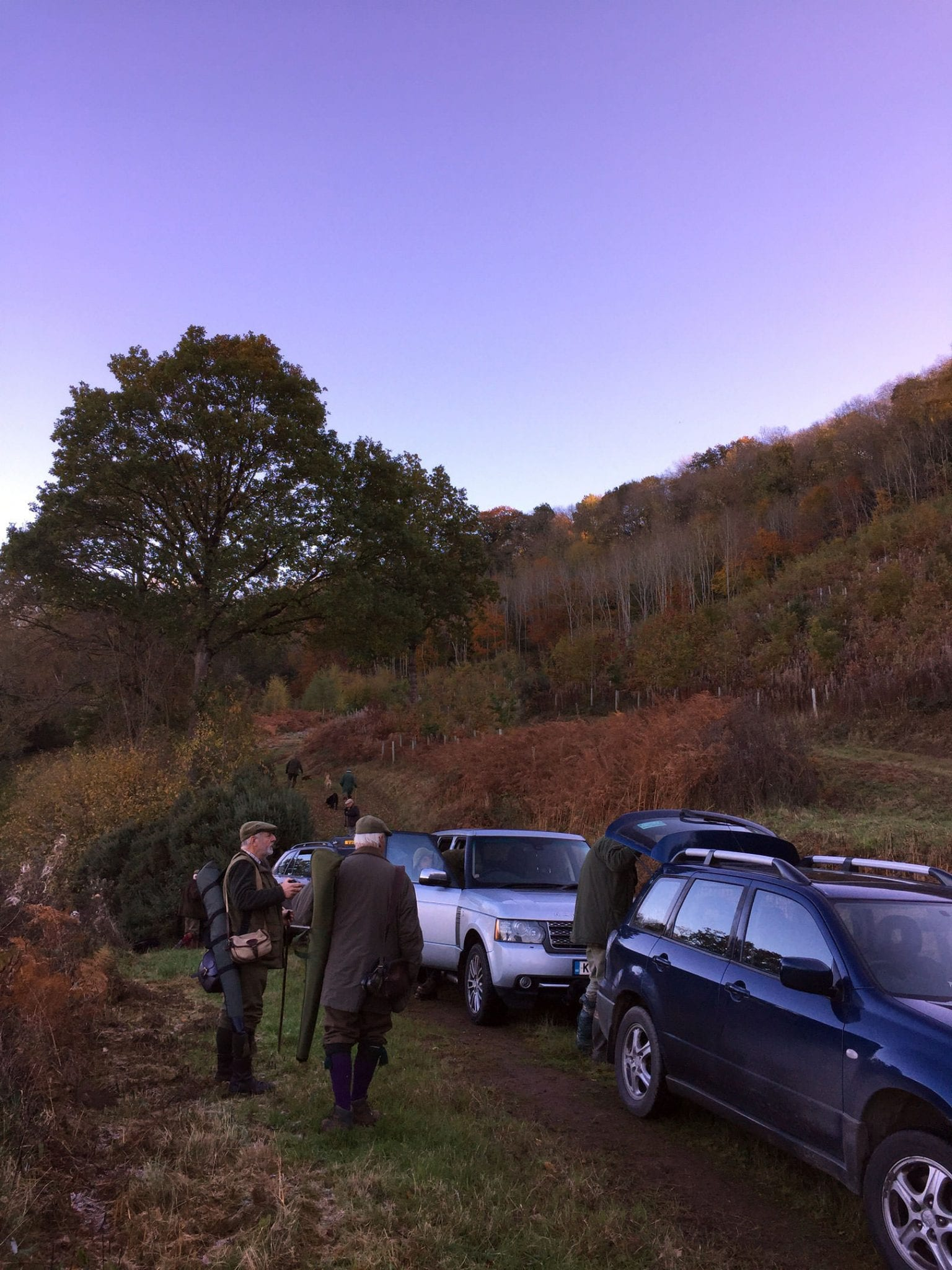 A Group getting ready for game shooting as part of Lady's Wood Shooting School's Sporting Agency