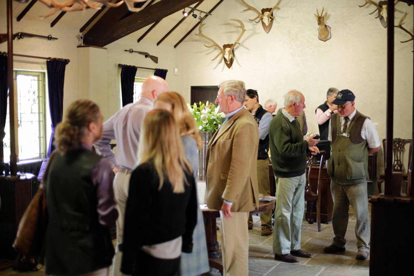 Customers gathering before a shoot at Lady's Wood Shooting School