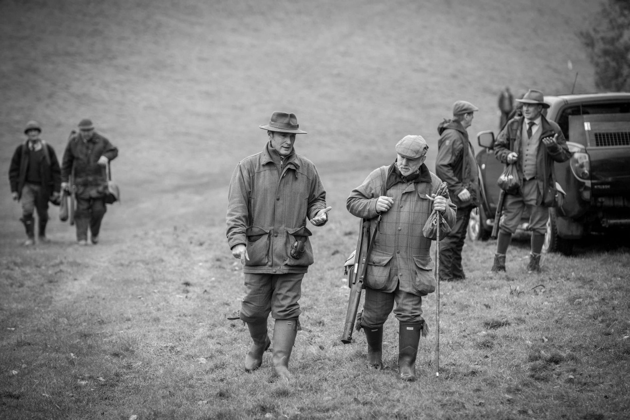Sim Days - Gentlemen on a shoot as part of Lady's Wood Shooting School Sporting Agency at Perrystone Estate