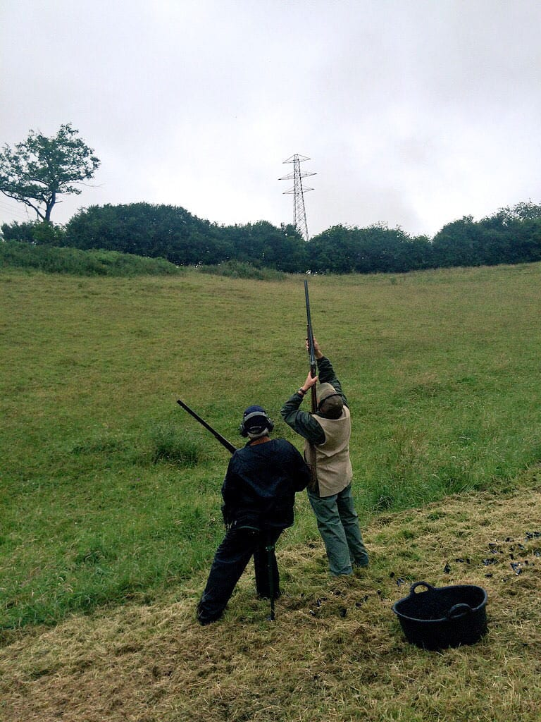 High-shot clay pigeon shooting at Lady's Wood Shooting School