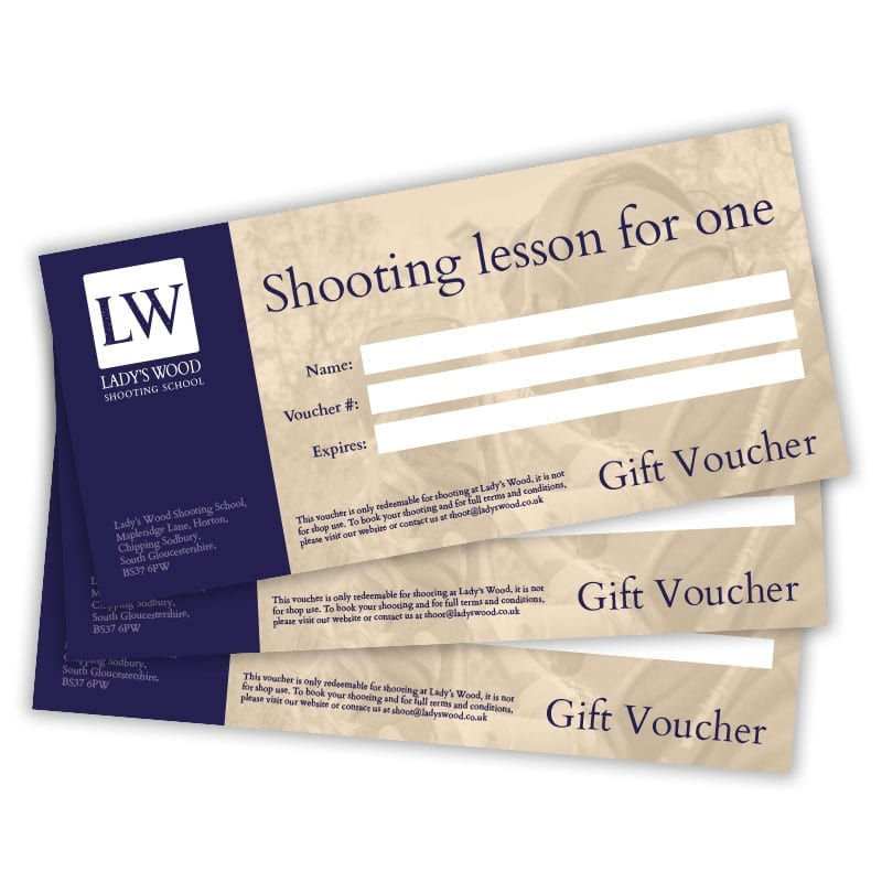 Shooting lesson for one clay shooting gift voucher redeemable at Lady's Wood Shooting School Bristol