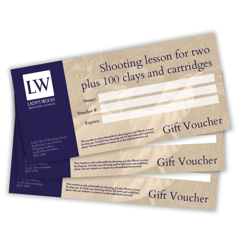 Shooting lesson for two gift voucher plus 100 clays and cartridges