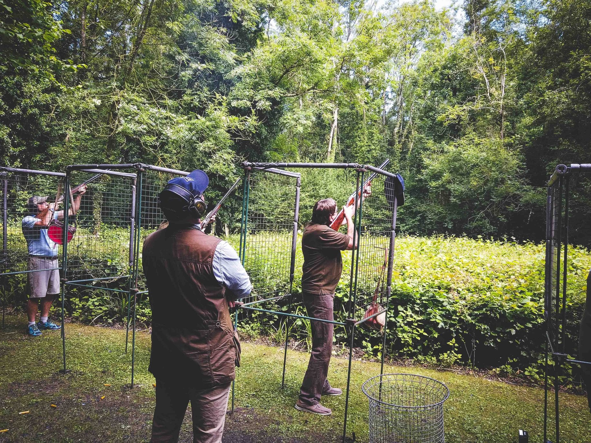Shooting instructor and Lady's Wood manager Chris Hanks watches on as a team shoot a flurry
