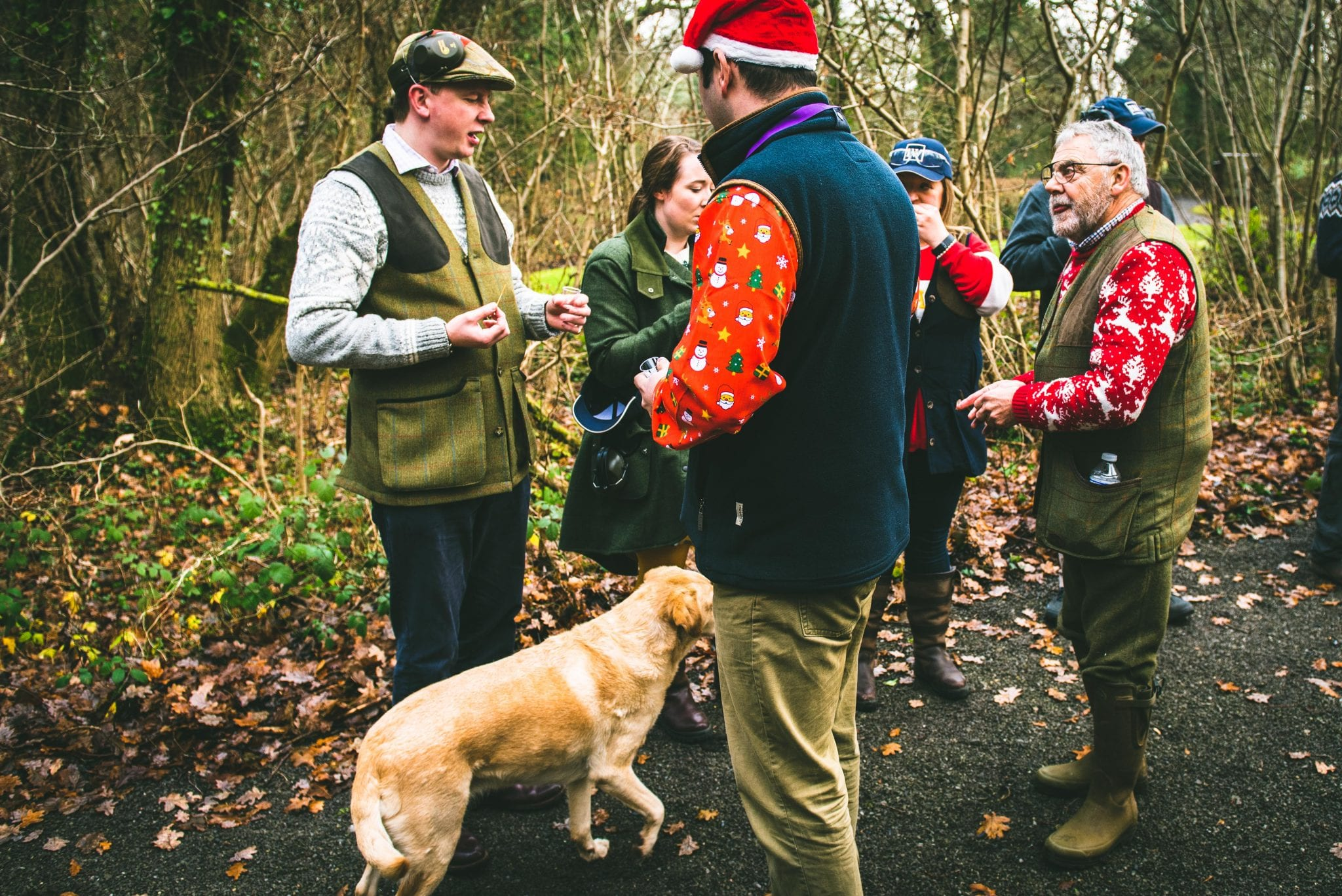 A group of customers enjoy a party and shoot in the Lady's Wood grounds